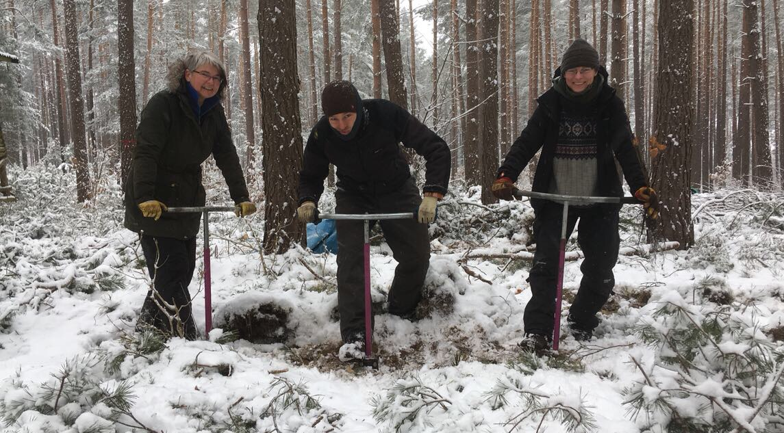 Drei mit Lenker im Schnee