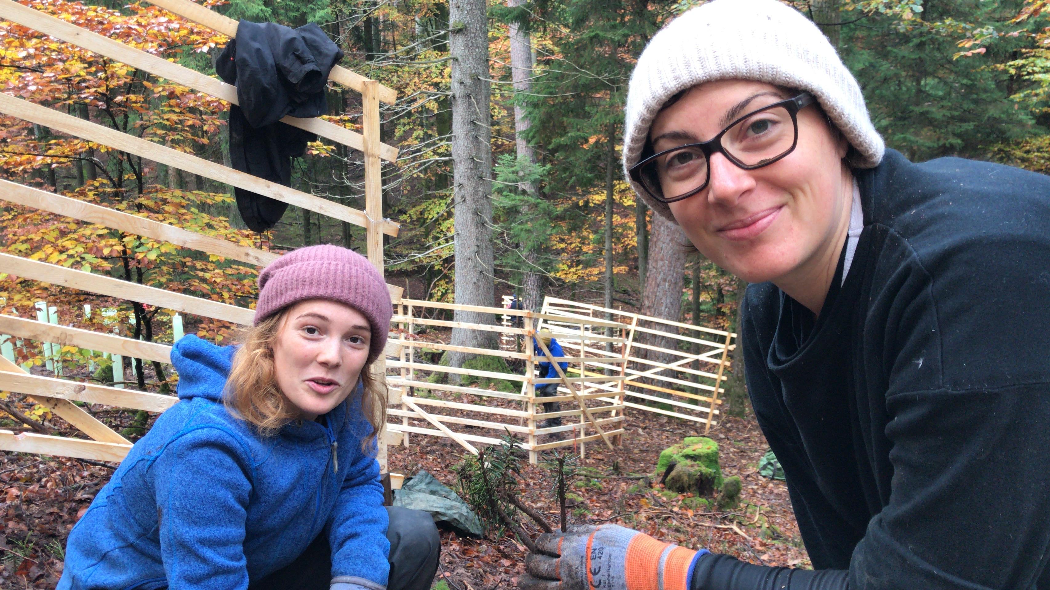 Marie und Lena pflanzen im Gatter