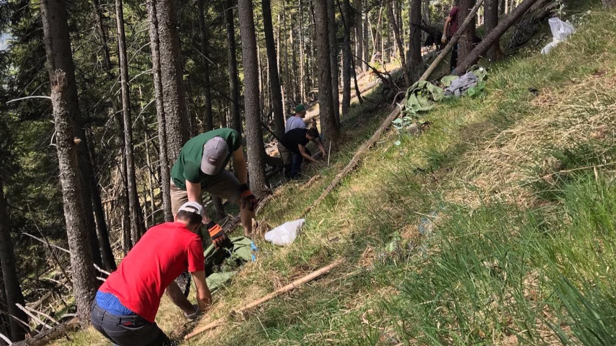 Am und im Hang: FÖJler in der Schutzwaldsanierung